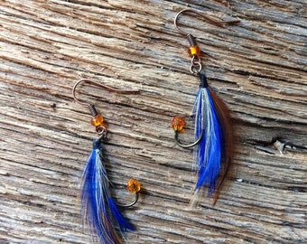 Auburn University fly fishing earrings: blue and orange fly fishing earrings