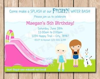 Frozen Water Slide Birthday Invitation | Anna, Elsa, Olaf - 1.00 each printed or 15.00 DIY file
