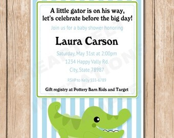 Alligator Baby Shower Invitation | Crocodile, Stripes - 1.00 each printed or 12.00 DIY file