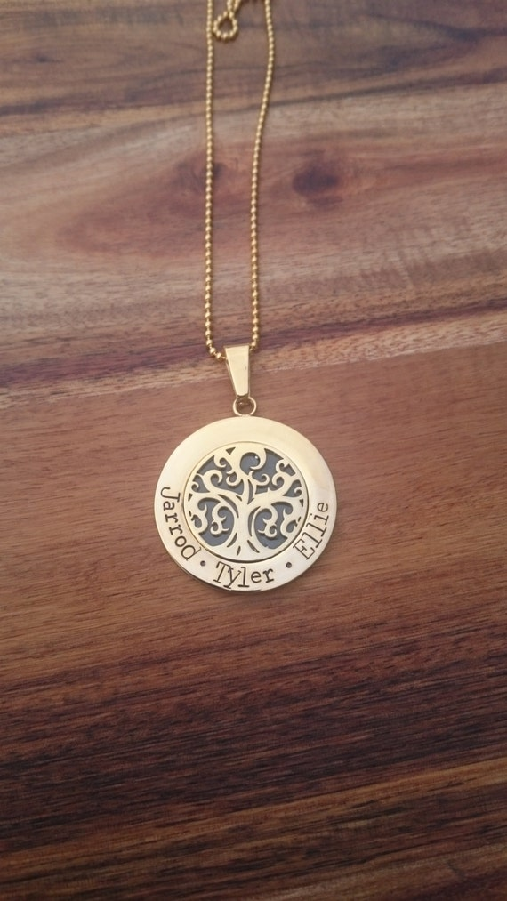 Hand Stamped Tree of Life Necklace, Gold stainless steel
