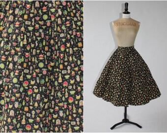 Vintage 1950s 50s novelty kitchenalia print full cotton skirt UK 6 8 US 2 4 XS S