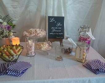 Sweet table, sweet cart, wedding, DIY sweet table, venue hire prop, Mr&Mrs, engagement decoration