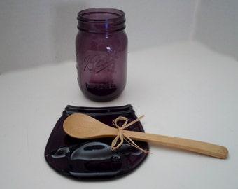 Pint Size Flattened Mason Jar - Purple