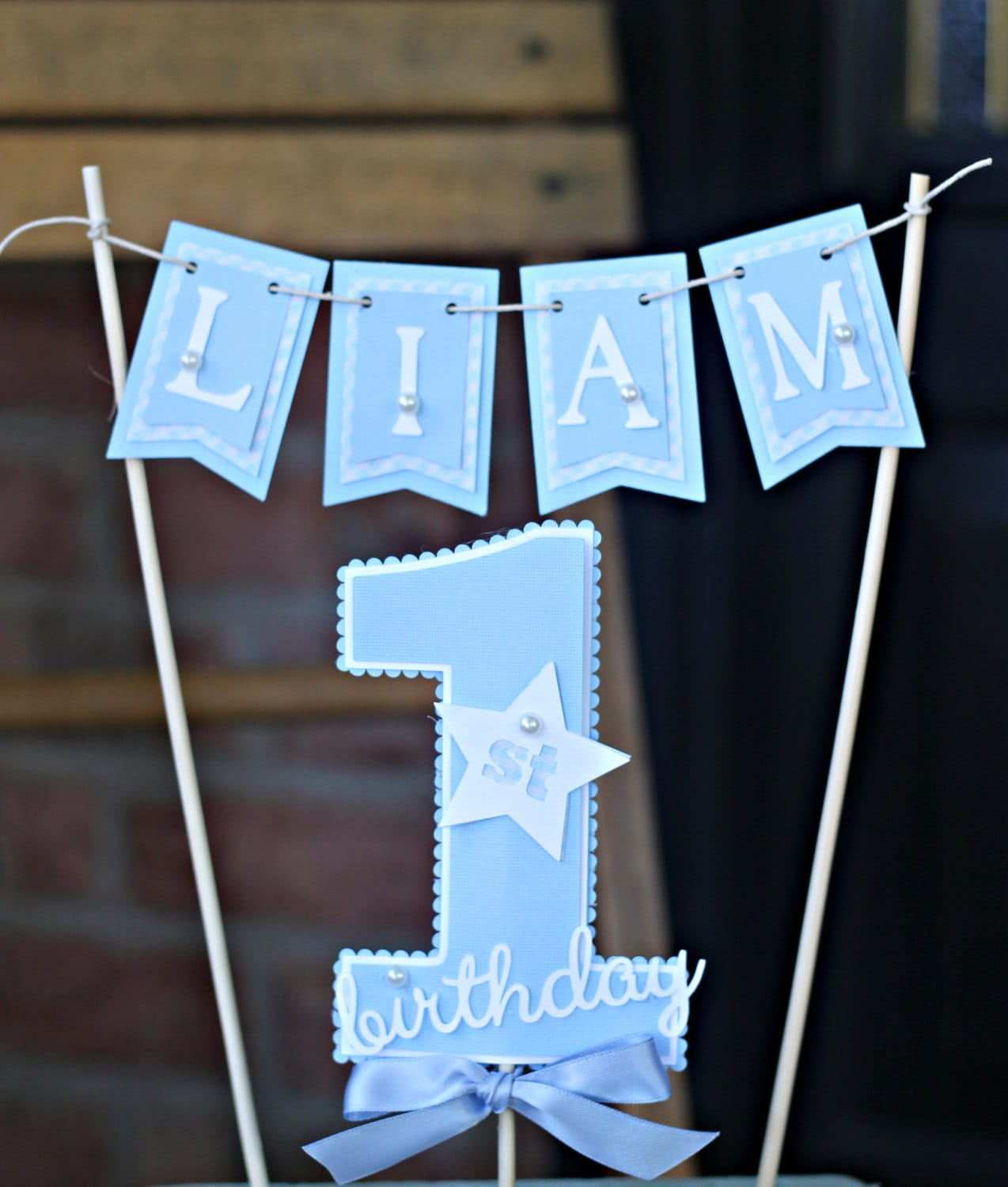Creative Converting 1st Birthday Boy Cake Topper Blue: Boy / Blue 1st Birthday Cake Topper. Blue/White/ First