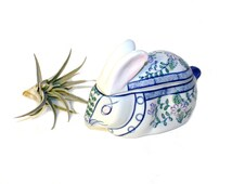Vintage blue bunny ceramic china container chinoiserie
