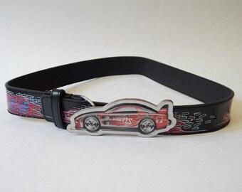 "22"" x 26"" Child's Race Car Black Vinyl Belt Metal Buckle"