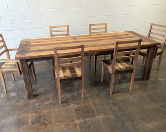 Reclaimed Wood Extendable Farmhouse Dining Table / Smooth Finish & Extension Leaf