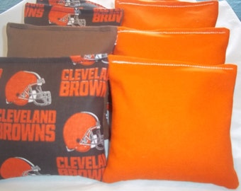 8 ACA Regulation Cornhole Bags - 4 handmade from Cleveland Browns Fabric & 4 Solid Orange