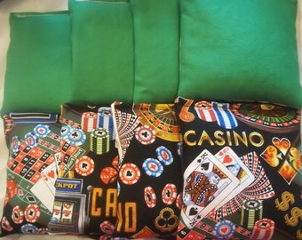 8 ACA Regulation Cornhole Bags - 4 Solid Green and 4 Casino Print Roulette Dice Cards Craps
