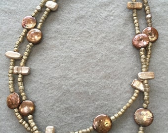 Coin Pearl, Flat Pearl and Gold Glass Seed Bead double strand necklace.