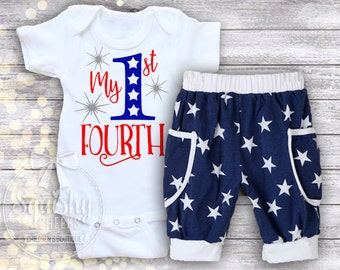 July 4th Baby Boy Outfit, 1st 4th of July Outfit,  My 1st 4th Bodysuit, Patriotic Baby Boy, Order just the Top or the Top & Bottoms