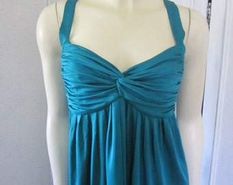 "1990s Teal Blue Silk Jersey Dress by ""Charles Chang-Lima,"" Size 4"