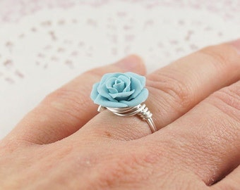 Wire Wrapped Rose Ring, Mint Blue Rose Ring, Sterling Silver, Swedish Jewelry, Polymer Clay Rose, Unique Jewelry