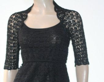 Wedding Bridal Bolero Shrug Lace Crochet Shrug Boleros silk vascose black