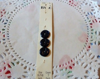 New Black Button On Card Sewing Notions