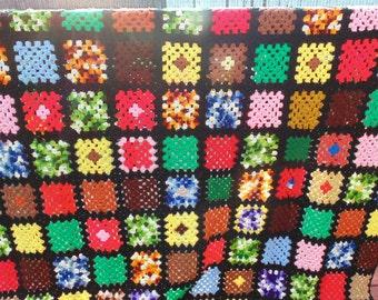 Vintage Multi Color Afghan Large Handmade Crochet Afghan Vintage Throws Vintage Blankets Vintage Bedding