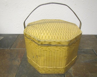 vintage  Loose-Willes Biscuit  Tin Octagonal with Handle , Sunshine biscuits, Lunch box, Sewing box , storage, Basket weave design