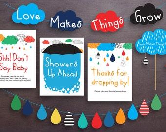 PRINTABLE Rain/shower theme baby shower decorations / boy baby shower decorations / love makes things grow