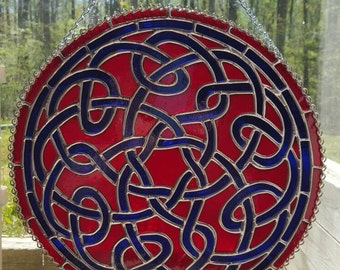 Stained Glass Celtic Knot in Ruby and Cobalt