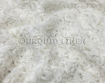 Lush Chiffon in White - Gorgeous Bridal Fabric With Rose Floral Embroidery Throughout - Best for Weddings, Parties, and Events