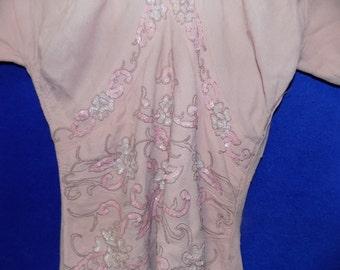 1930 Peach Dress, Beaded Top