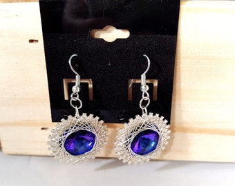 Swarovski Drop Dangle Women's earrings ~ Purple and Silver Jewelry