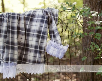 X-LARGE Upcycled Flannel with lace~ X-LARGE