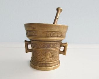 French Vintage Bronze Mortar & Pestle, Apothecary Herbal Mortar Pestle, Vintage Kitchen Decor