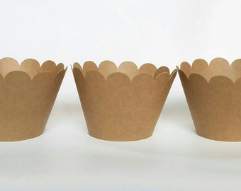 12 count Brown scalloped cupcake wrappers craft paper brown paper bag burlap color scalloped cupcake wrapper