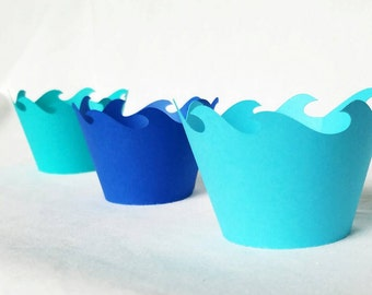 12 Royal Blue, Teal and Aqua blue wave cupcake wrappers cupcake wraps, Ocean, Moana, mermaid, beach, Ariel, nautical, ocean waves