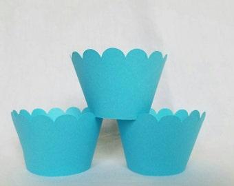 12 aqua blue scallop cupcake wrappers