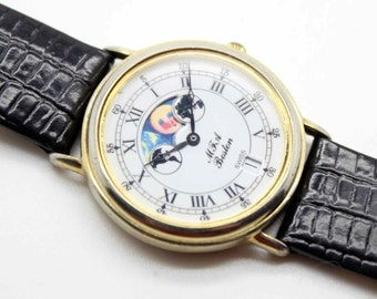 Vintage MFA Museum Fine Arts Boston Wrist WATCH-Moonphase Moon Phase-Date-Swiss Movement-Estate Jewelry-Runs Great-1990's!