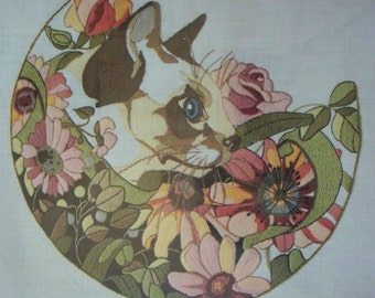 "Crewel Embroidery Kit ~ Siamese Cat Picture ~ Pinks Greens  16"" x 16"" Unopened"