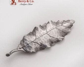 Figural Oak Leaf Brooch Pin Sterling Silver