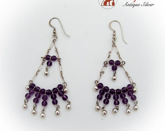 Long Beaded Amethyst Chandelier Earrings Sterling Silver