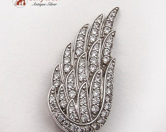 Figural Wing Pendant CZ Sterling Silver 1980