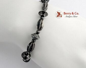 Ornate Bead Bracelet Sterling Silver