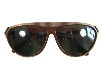 1980s Vintage Courreges Sunglasses - Mocha Brown Stripe