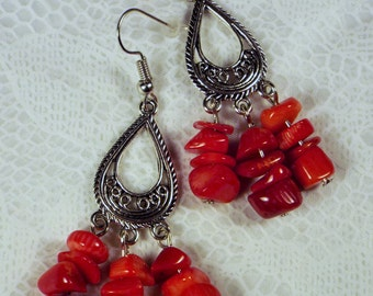 """Cynthia Lynn """"CHIPOTLE"""" Red Coral Chip Silver Chandelier Dangle Earrings"""