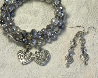 """Cynthia Lynn """"TWO HEARTS"""" Silver Plated Crystal Glass Beaded Heart Coil Bracelet and Matching Earrings"""