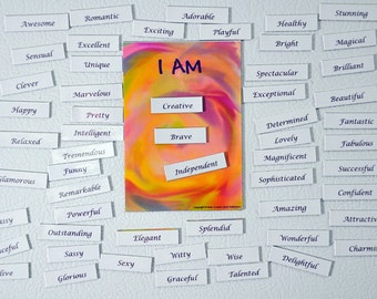 Affirmation, self-help gift, magnetic words for fridge, empowerment gift, affirmation magnets, self esteem, inspirational gift, mantra kit