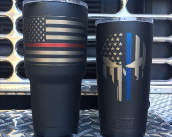 Customer Supplied  Thin red/Blue line YETI/RTIC*** This listing does not include the tumbler