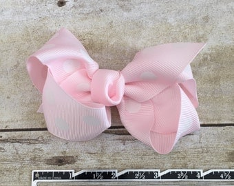 """Light Pink Hair Bow with White Polka Dots Hair Clip 4"""""""