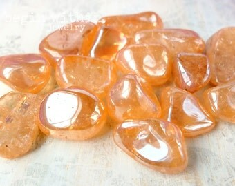 TANGERINE AURA QUARTZ Tumbled Loose Gemstone Crystal / Melon Quartz / For Energy Healing, Reiki, Crystal Healing