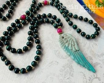 Archangel Raphael Mala Beads / Malachite Prayer Beads / Angel Wing Mala Necklace / Angel Jewelry