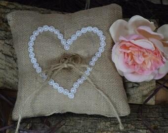 Rustic Wedding Pillow, Burlap Ring Bearer Pillow, Burlap Ring Pillow,