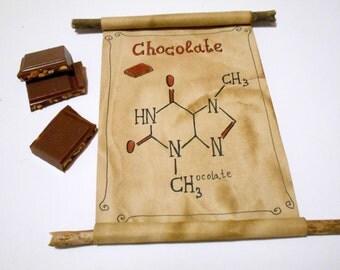 Chocolate Molecule Formula art scroll- biochemistry art gift with Chocolate molecule formula- Science Chemistry Teacher, Scientist Gifts