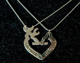 Her Buck His Doe 2 Piece Necklace Set! Gift For Couples, *Silver Toned* His and Hers Necklaces, Buck & Doe Country Wedding Anniversary!