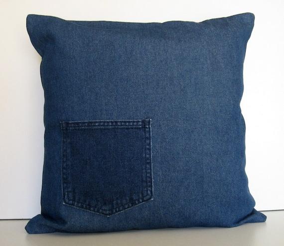 Throw Pillows Emoji : Denim Pocket Pillow Cover Throw Pillow Pillow Cover Jeans