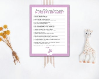 INSTANT DOWNLOAD printable baby shower game / nursery rhyme quiz / nursery rhyme printable / nursery rhyme game / polka dot baby shower